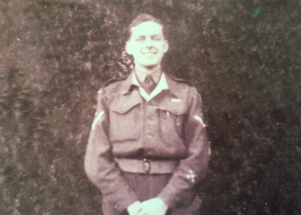 Jim Newstead, aged 19, in the army during the Second World War