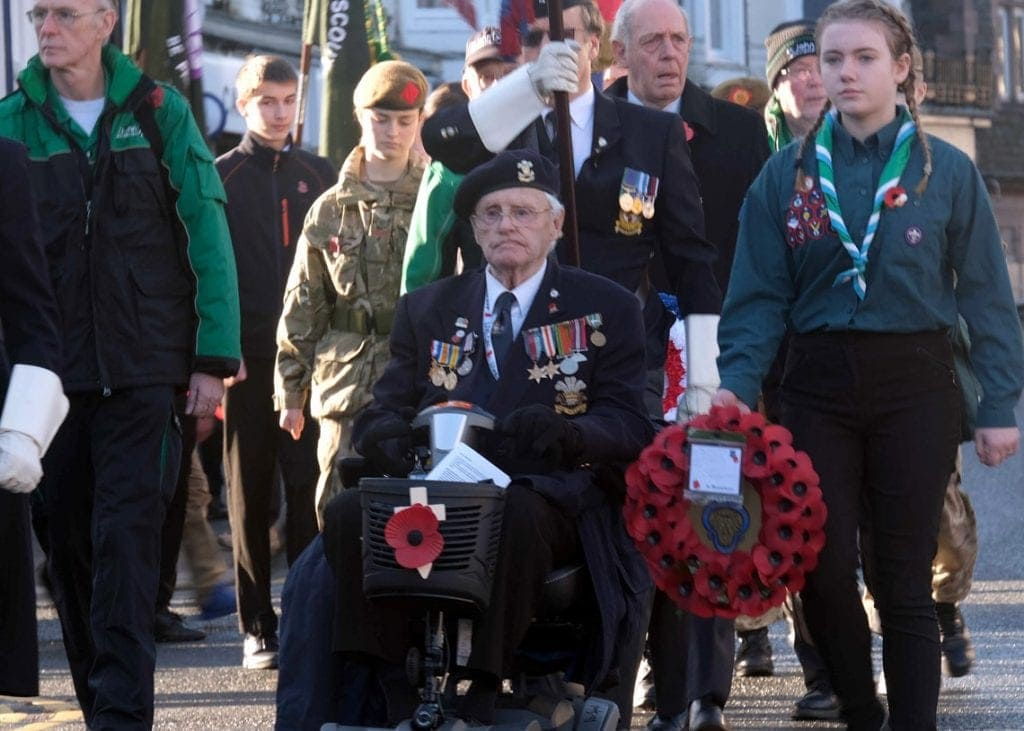 The late Jim Newstead leading the 2019 Remembrance Day service as President of Keswick's Royal British Legion