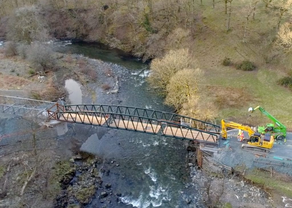 Low Pearsons Bridge Installation on the Keswick to Threlkeld path