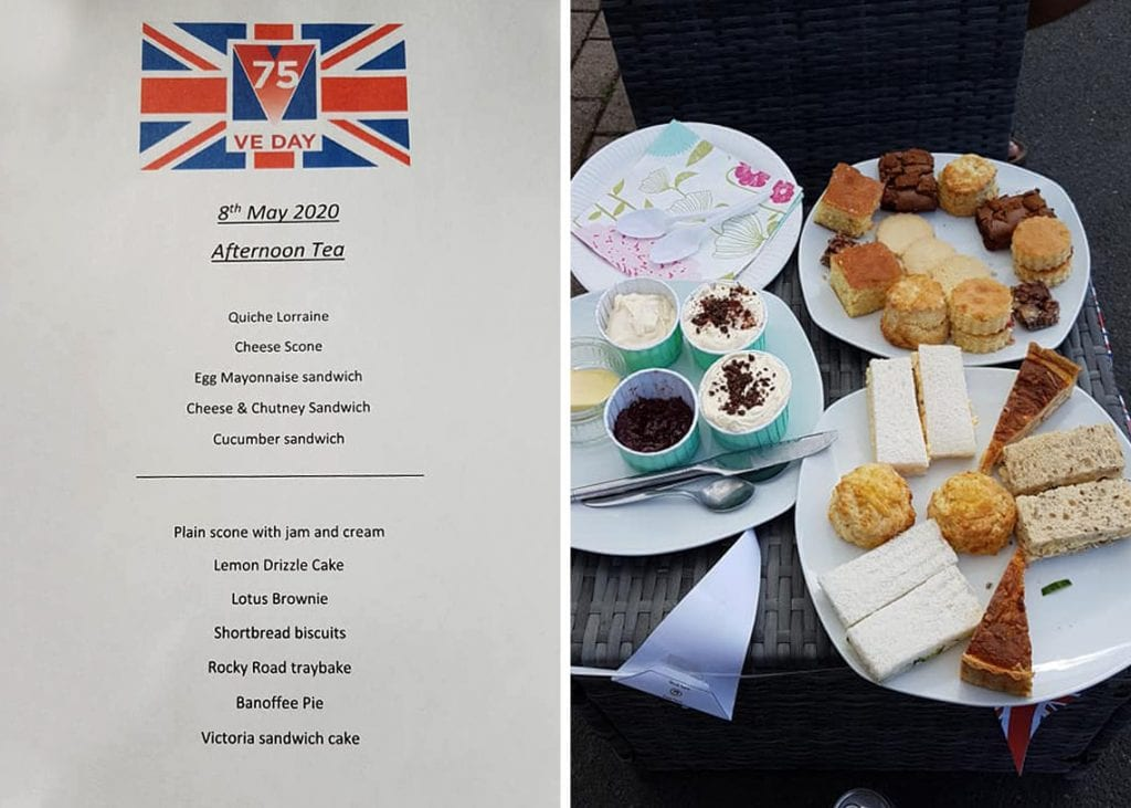 The VE Day afternoon tea made by Katie Pepper for everyone living on The Headlands in Keswick.