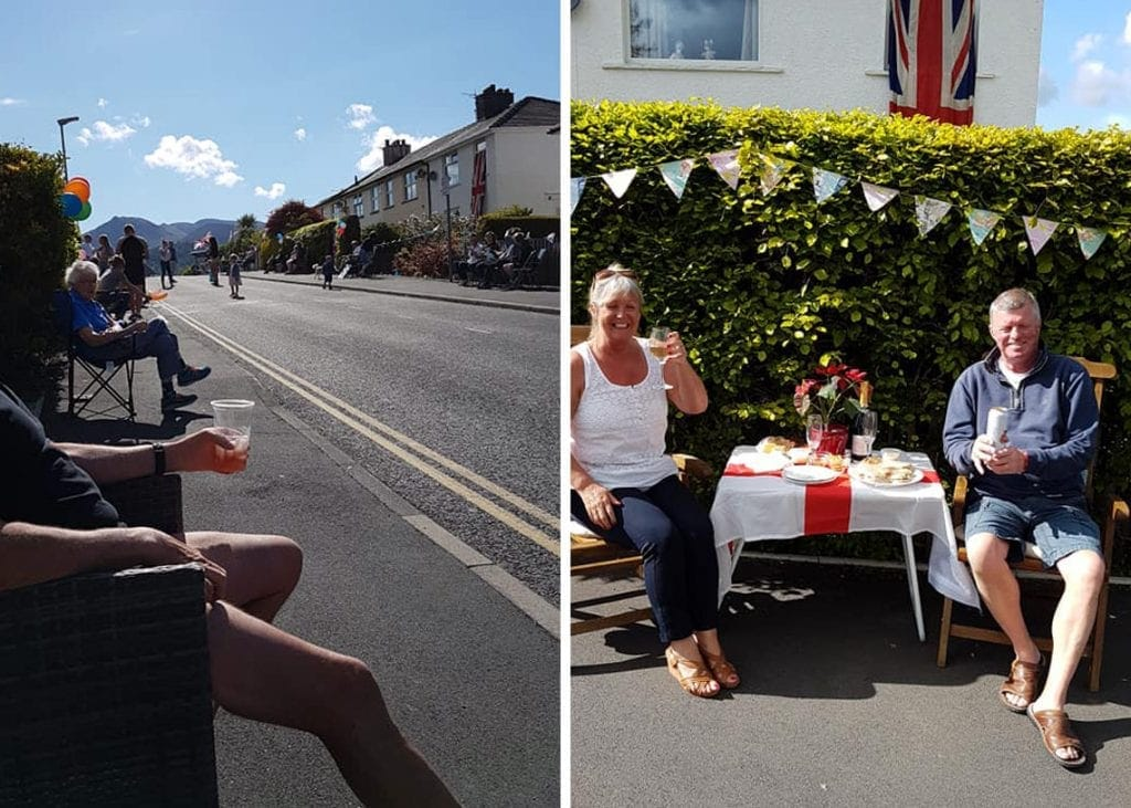(Left) Celebrating VE Day on The Headlands in Keswick. (Right) Helen and Shaun Doolin enjoying their VE Day afternoon tea made by Katie Pepper.